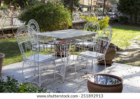 Decorative vintage metal white table and chairs furniture in a garden. Metal Garden Furniture Stock Images  Royalty Free Images   Vectors