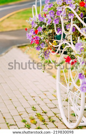 Decorative Vintage Model Of Old Bicycle Equipped With Basket Of Flowers. Toned photo. White Bike Parking With Flower Bed In Summer Day
