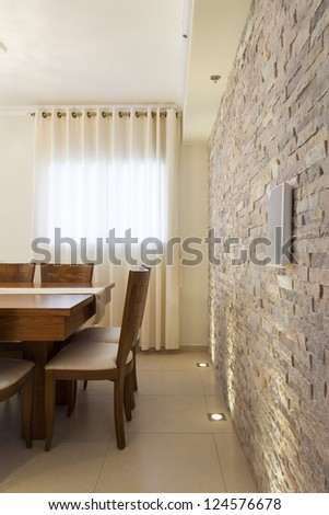 Decorative Wall in Dining Room - stock photo