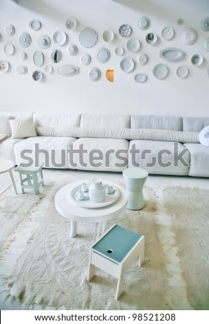 decorative wall in white interior - stock photo