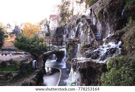 decorative waterfall in istanbul