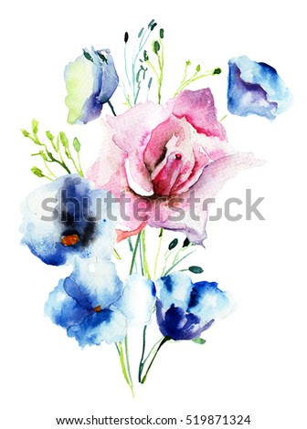 Decorative wild flowers, watercolor illustration