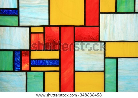 decorative window of various colored rectangles - stock photo