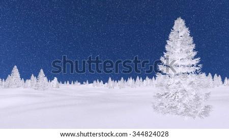 Decorative winter landscape with white silhouettes of frosty fir trees against night sky. 3D illustration was done from my own 3D rendering file. - stock photo