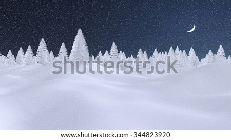 Decorative winter scenery with spruce forest completely covered with snow under dark night sky with a half moon and snowfall. Decorative 3D illustration. - stock photo