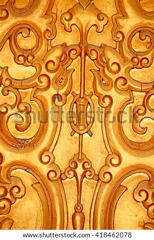 Decorative wood carving on the door  - stock photo