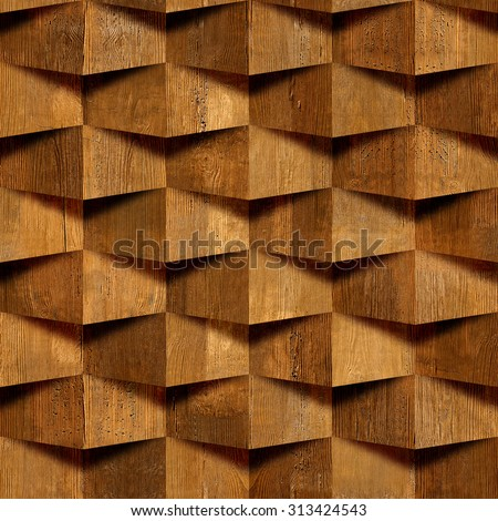 Decorative Wooden Bricks 3 D Wallpaper Interior Stock Illustration