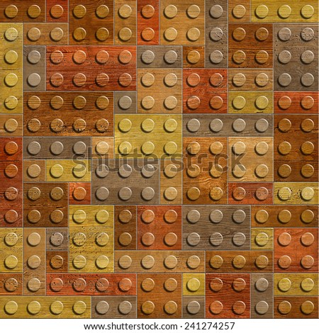 Decorative wooden parts - Children's cubes - connecting blocks - seamless background - Interior Design wallpaper - Continuous replication