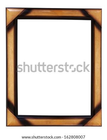 Decorative wooden photo frame isolated on white background. Closeup.