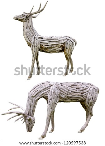 decorative wooden Reindeer antlers made from nature material isolated on white background ,handmade - stock photo
