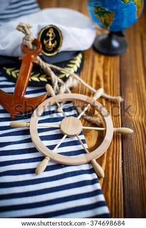 Decorative wooden steering wheel  - stock photo