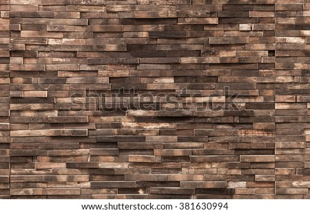Decorative wooden wall background texture, natural wallpaper pattern - stock photo