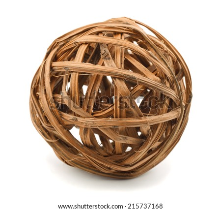 Decorative wooden wicker sphere isolated on white - stock photo