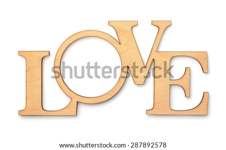 Decorative wooden word LOVE isolated on white - stock photo