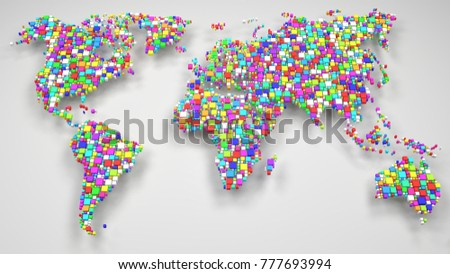 Decorative World Map | 3d Rendering: mosaic of little bricks - Flag colors