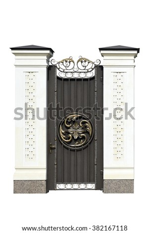 Decorative wrought  iron door  in old  stiletto. Isolated over white background. - stock photo