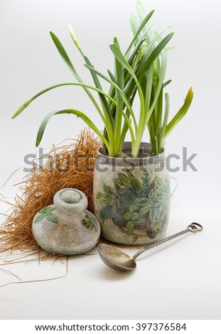 Decoupage, cooking Bank, onion, spoon and hay