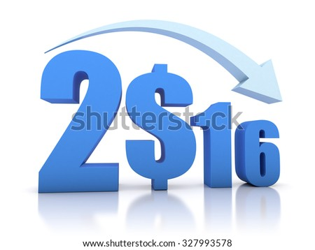 Decrease 2016 and Dollar With Arrow - stock photo