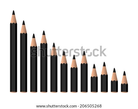 decreasing black crayons on the chart (raster version, available as vector too) - stock photo