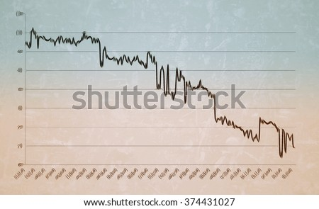 Decreasing curve chart showing statistics with a downward trend, referring to concepts such as economic crisis, financial losses, market shares decrease, scientific analysis or medical results