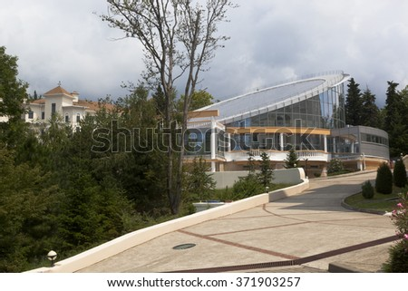 Dederkoy, Tuapse district, Krasnodar region, Russia - 14 July 2013: The building of swimming pools in the resort Green Guy