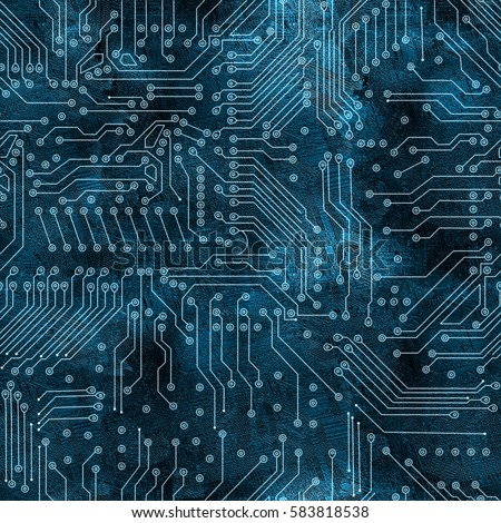 deep blue electronic circuit board background.High-resolution seamless texture
