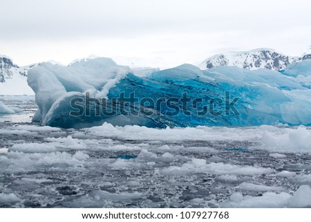 Deep Blue Ice in Antarctica - stock photo