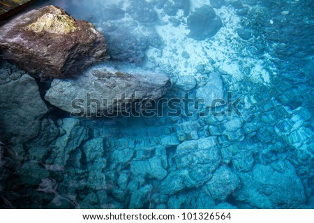 Deep blue lake with clean fresh water - stock photo