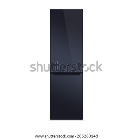 Deep blue modern refrigerator, colorful design, isolated on white. Glossy piano black finish. - stock photo