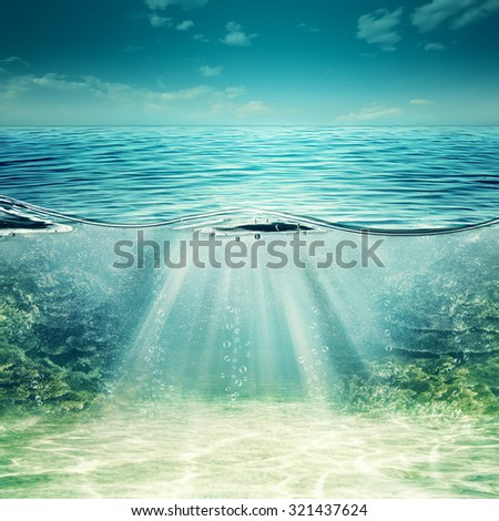 Deep blue ocean. Abstract underwater backgrounds for your design - stock photo