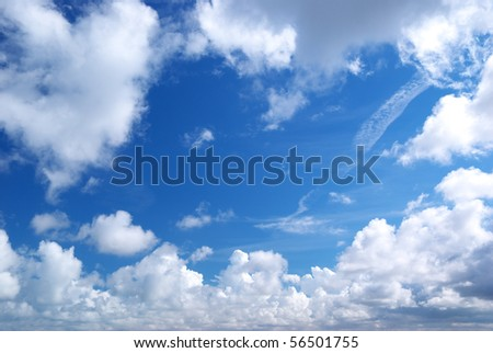 Deep blue sky and big clouds. Nature composition.