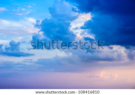 Deep blue sky and clouds - stock photo