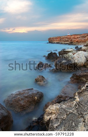 Deep blue storm on the sea. Nature composition. - stock photo