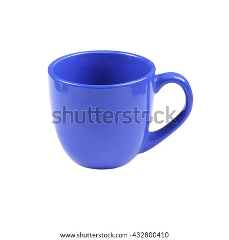 Deep bright blue cup or mug isolated on white background - stock photo