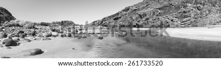 Deep Creek Conservation Park on the Fleurieu Peninsula in South Australia in panoramic format in black and white - stock photo