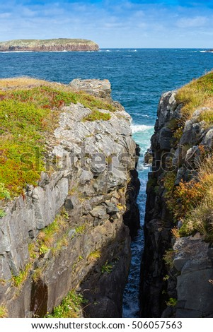 Deep crevice between two cliffs on Atlantic coast