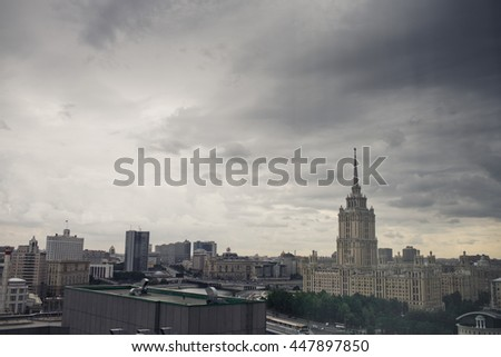 Deep dark gray sky over the Moscow-city