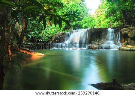 Deep forest Huai Mae Kamin Waterfall, Kanchanaburi, Thailand  - stock photo