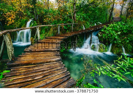 Deep forest stream with crystal clear water with wooden pahway. Plitvice lakes, Croatia UNESCO world heritage site