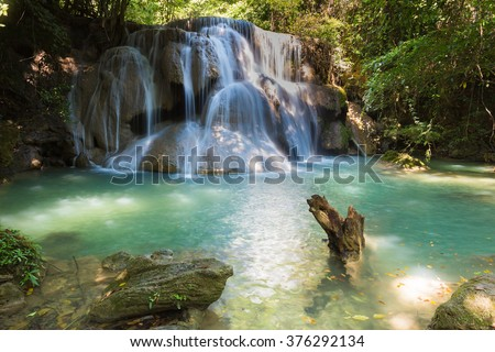 Deep forest tropical jungle waterfalls in national park - stock photo