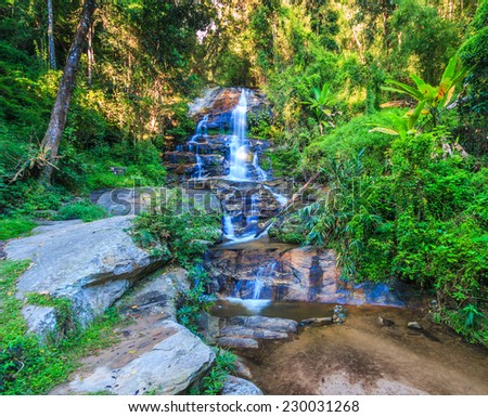 Deep forest waterfall at  Chiang Mai Thailand  - stock photo