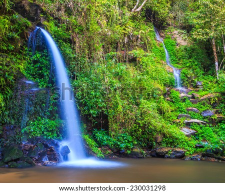 Deep forest waterfall at  Chiang Mai Thailand