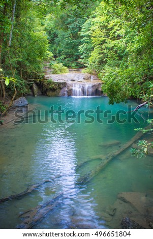 Deep forest waterfall at Erawan waterfall National Park, Kanjanaburi , Thailand