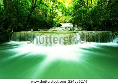Deep forest waterfall at Huay Mae Kamin National Park