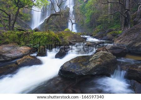 Deep forest waterfall at Klonglarn waterfall National Park, Kampangpetch, Thailand - stock photo