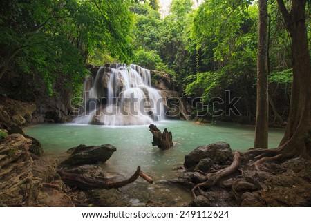 Deep forest waterfall at waterfall National Park, Thailand  - stock photo