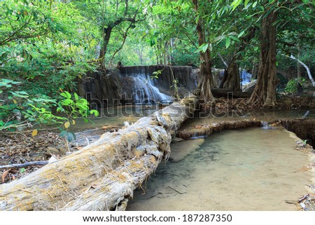 Deep forest Waterfall in Kanchanaburi (Huay Mae Kamin), Thailand