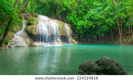 Deep forest waterfall in Thailand.
