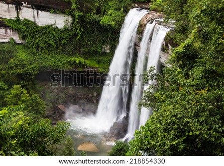 Deep forest waterfall in Ubon Ratchathani, Thailand - stock photo