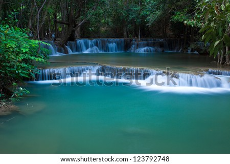 Deep forest waterfall Kanjanaburi Thailand